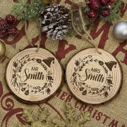 Engraved Set of Two Couple's Christmas Tree Decoration